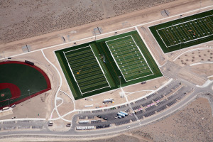 Aerial of baseball field under construction