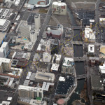 Reno downtown Riverfront aerial photography image 2014