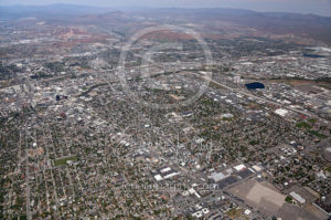 Wide Aerial Views of Downtown Reno 2017