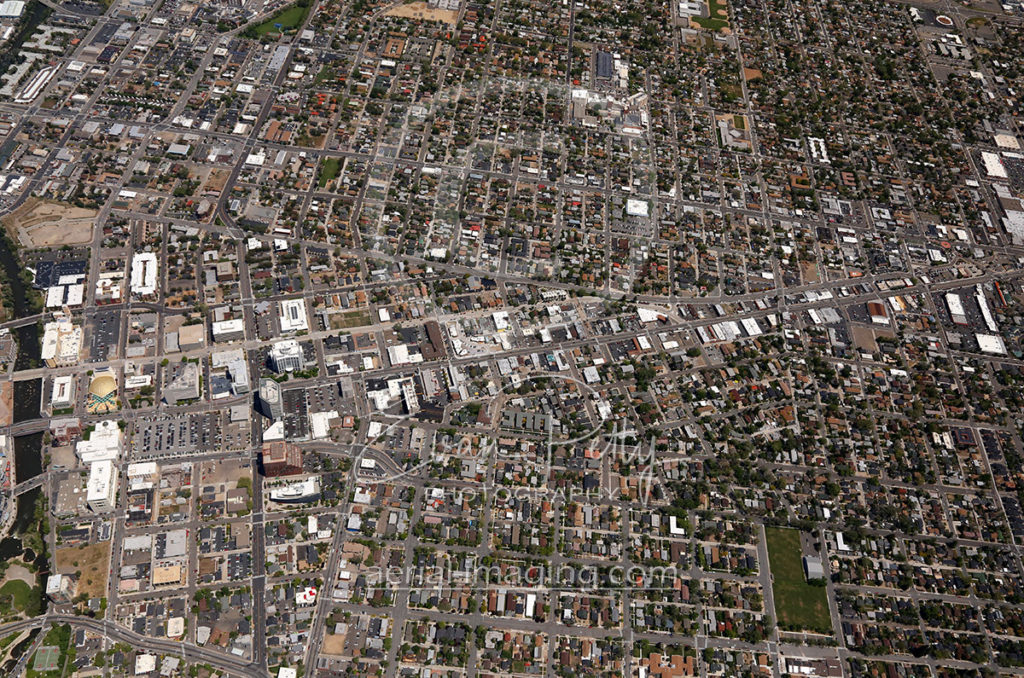 Aerial View of MidTown in Reno, Nevada 2017
