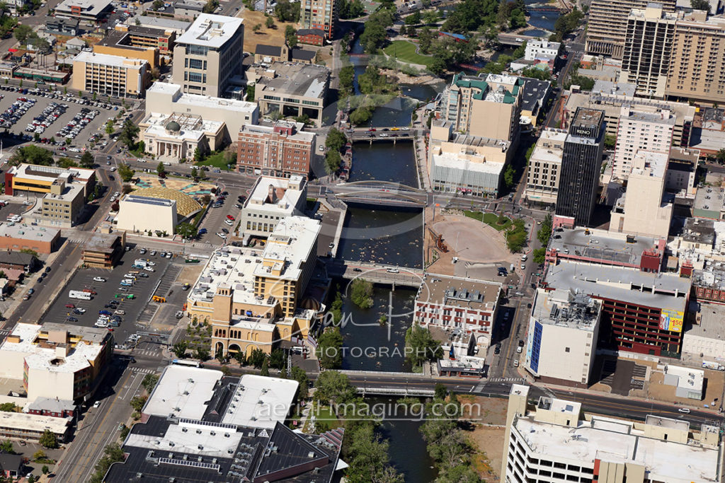 Amazing Aerial View of Downtown Reno Riverwalk 2017