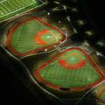 Night aerial of athletic field