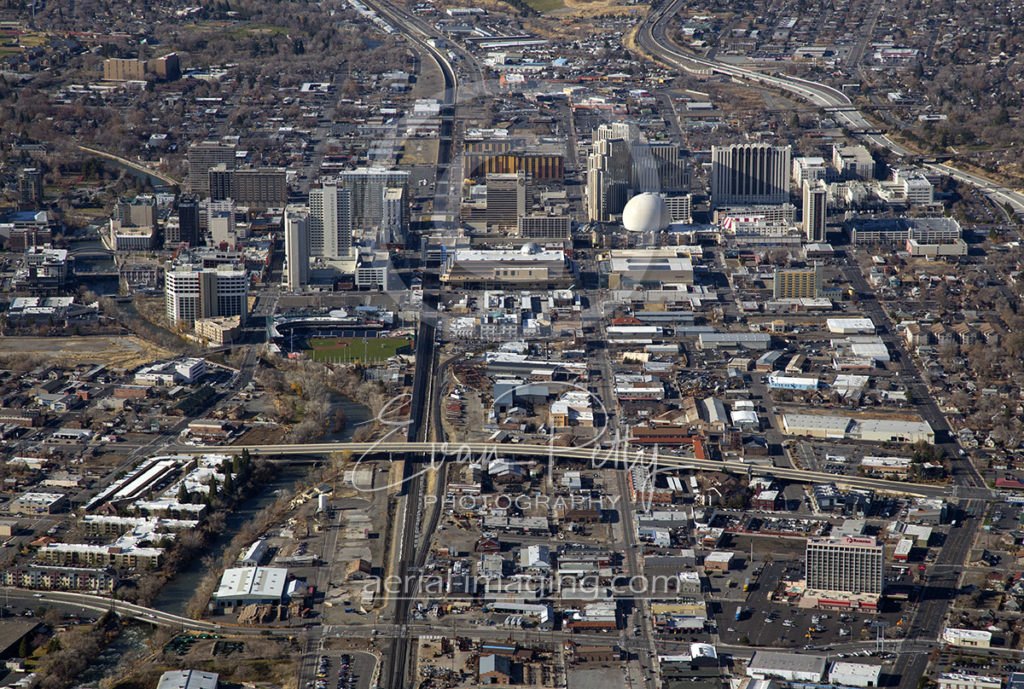 Aerial View Downtown Reno, Nevada 2017