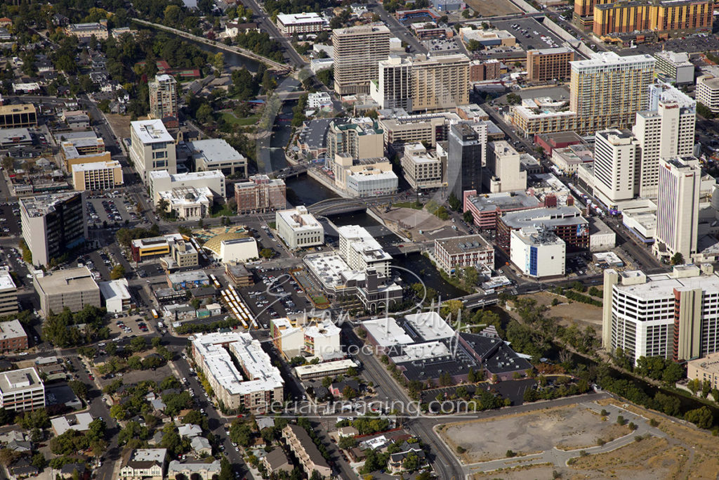 Aerial Image Riverwalk in Downtown Reno, Nevada 2017