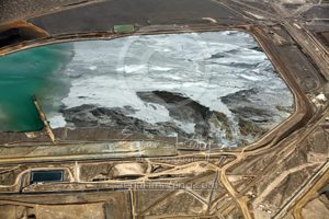 Frozen Mine Pond Aerial View