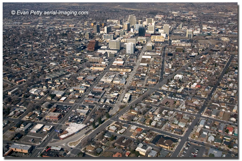 Aerial view of MidTown Reno from helicopter