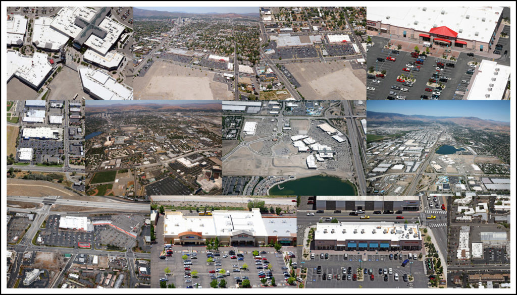 Aerial shopping center collage