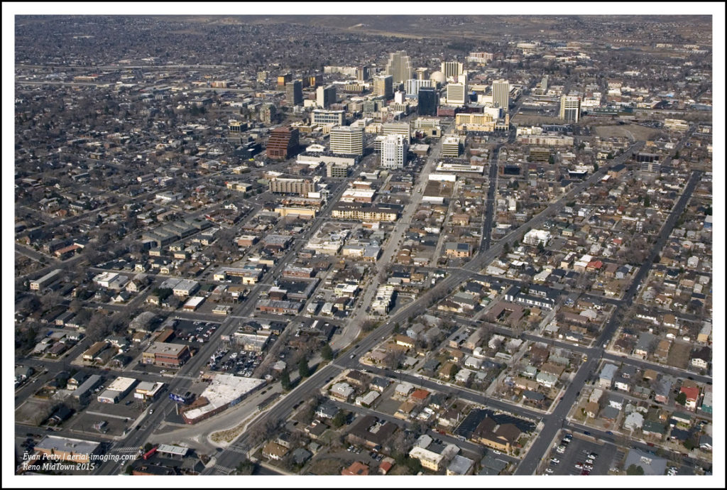 Aerial View of MidTown Near Downtown Reno, NV