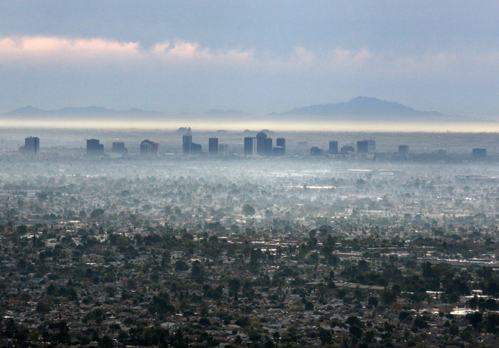 Aerial View of Phoenix Fog