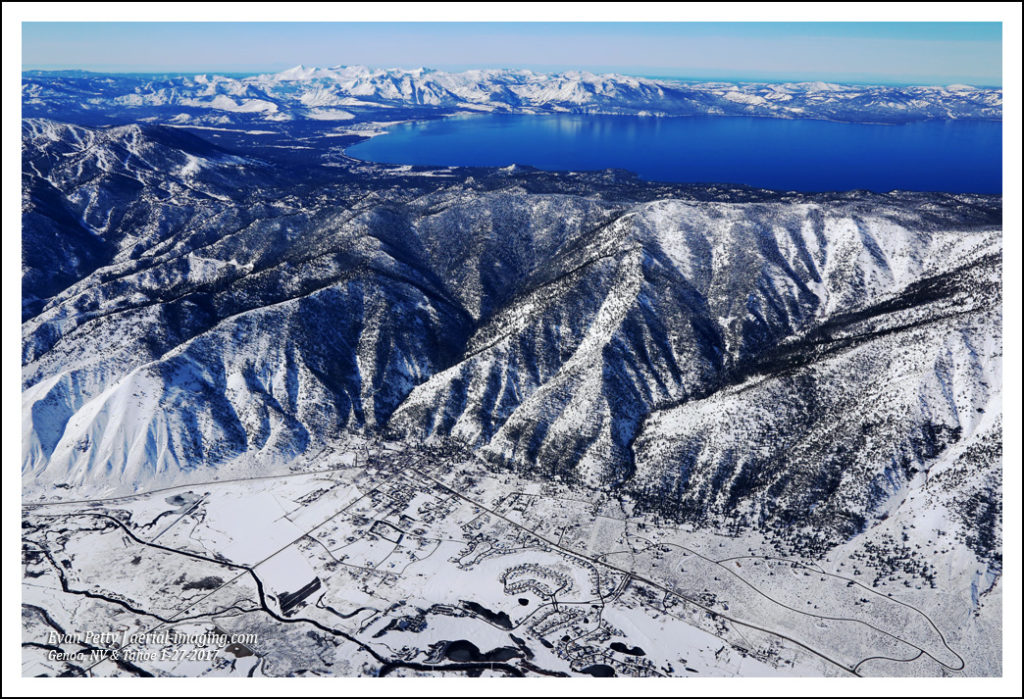Winter Snow Aerial over Genoa, Nevada and Tahoe