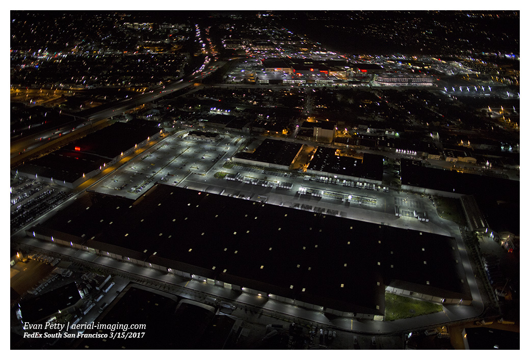 san francisco night aerial photography night aerial photography shots fedex ground in south