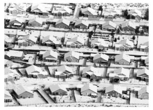Houses with Snow Aerial