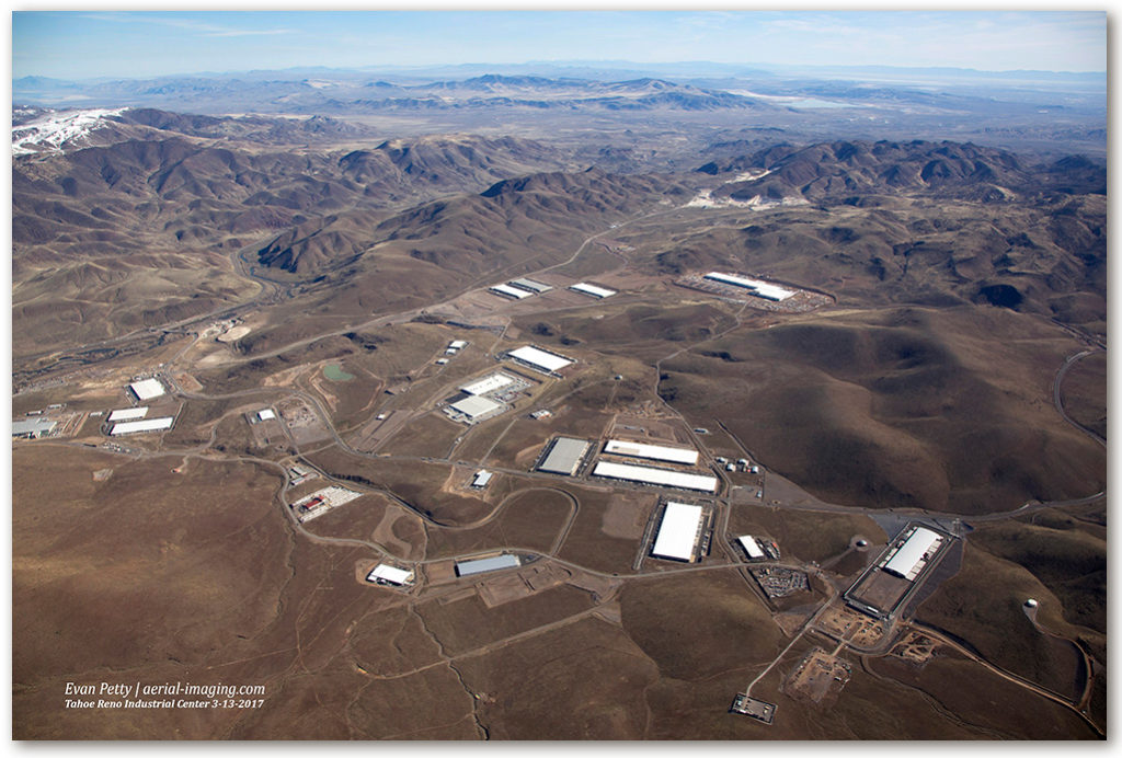 Aerial of Tahoe Reno Industrial Center TRIC in Nevada