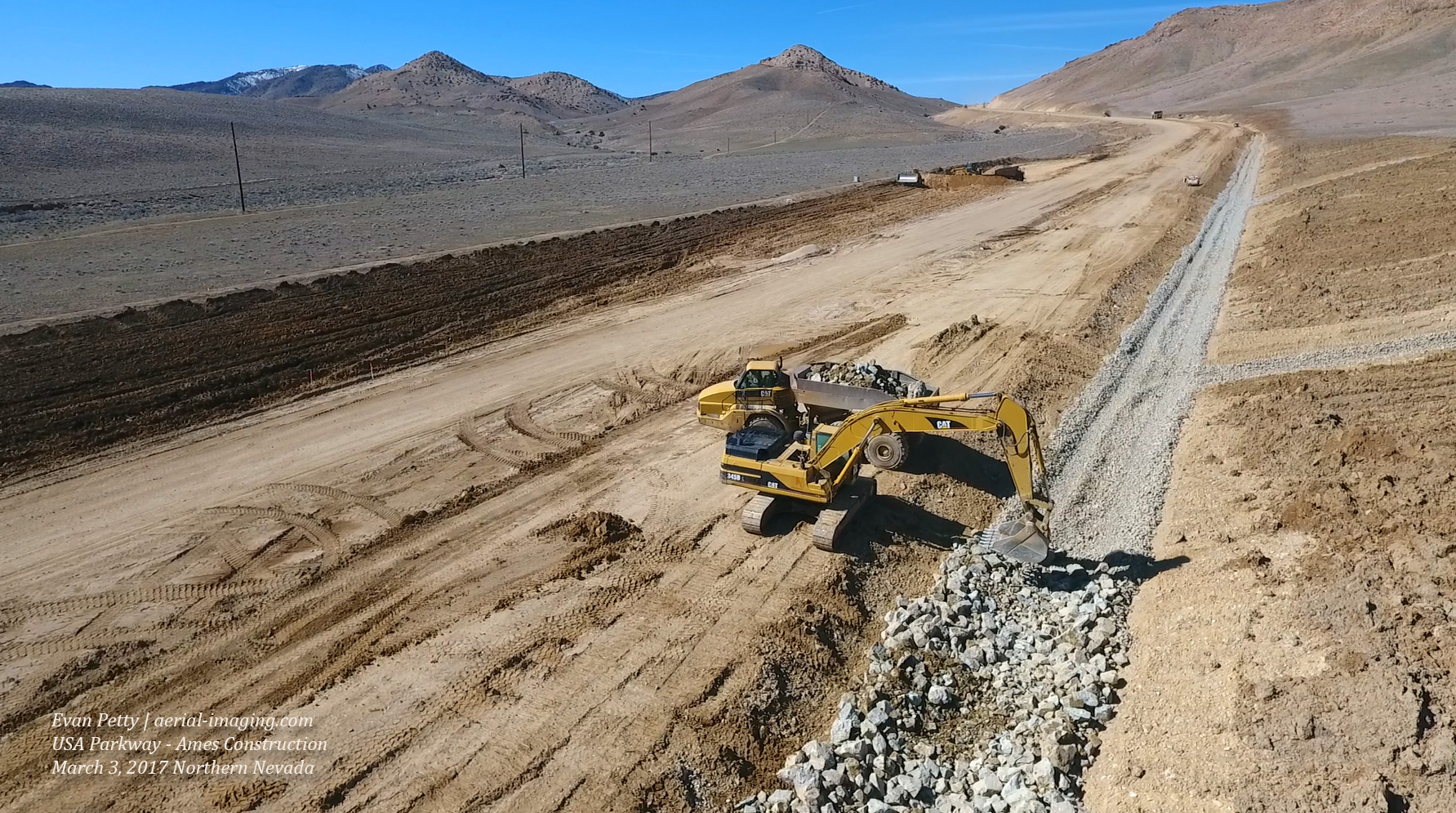 drone aerial view of grading the usa parkway in nevada
