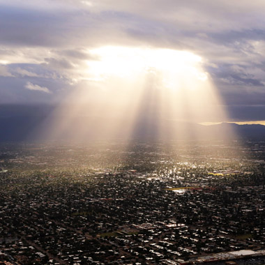Aerial Storm Light Over City