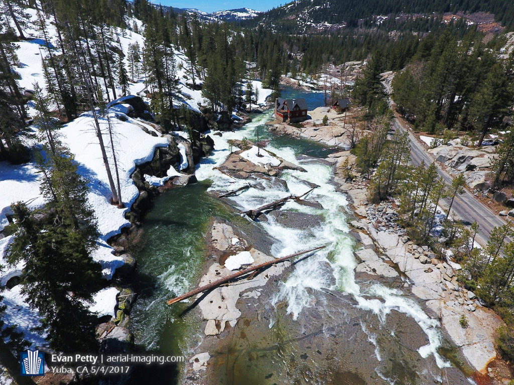 Aerial View of Sierra Mountain snow melt at Yuba River
