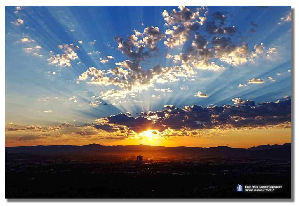 Sunrise over Reno, Nevada Aerial View