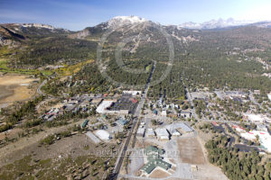 Aerial View of Mammoth Lakes Downtown Photo Drone and Mammoth Mountain