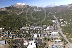 Mammoth Lakes Downtown Aerial Photo Drone and Mammoth Mountain