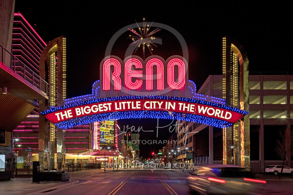 Downtown Reno arch at night photography