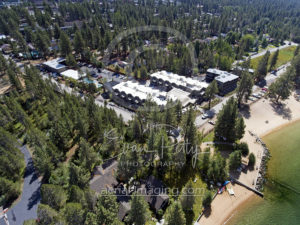 Aerial photographer drone downtown South Lake Tahoe