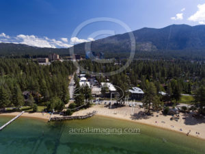 Aerial photographer drone Lake Tahoe beach