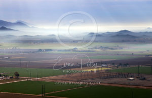 Farm Aerial View of Fog in Arizona