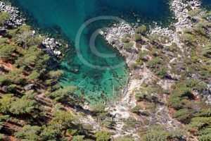 Lake Tahoe Cove Beach Rocks Aerial