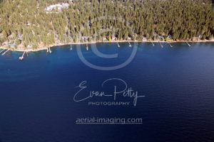 Beach and Piers in Lake Tahoe Aerial