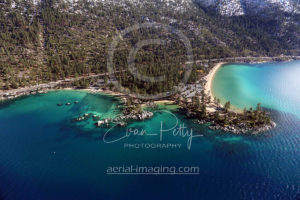Aerial of Sand Harbor in Tahoe