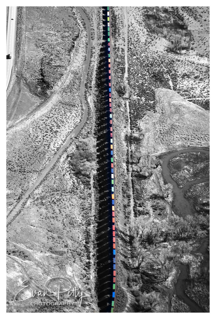 Freight Train and Shadows Aerial View