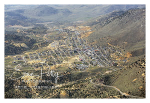 Wide aerial view of Downtown Virginia City, Nevada aerial image photograph print view