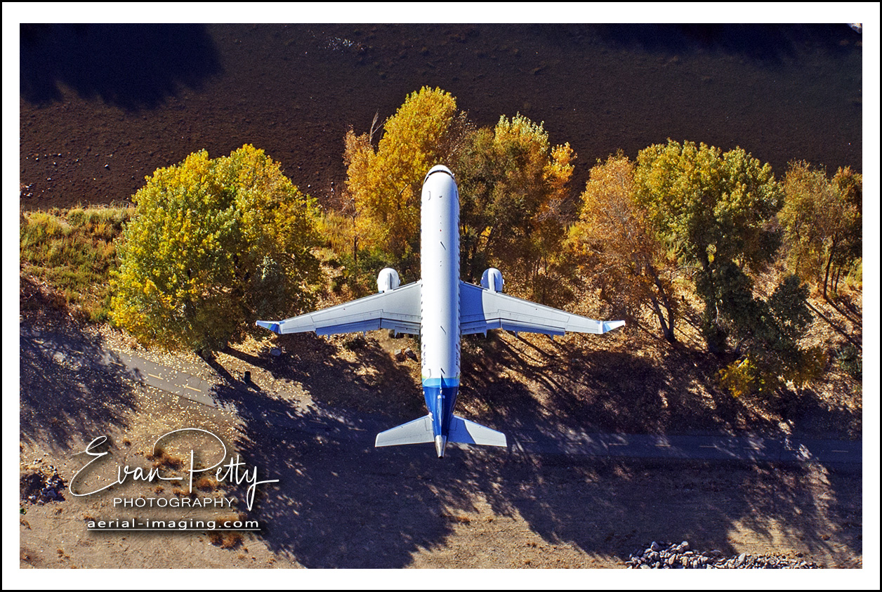 Aerial View of Airplane Landing