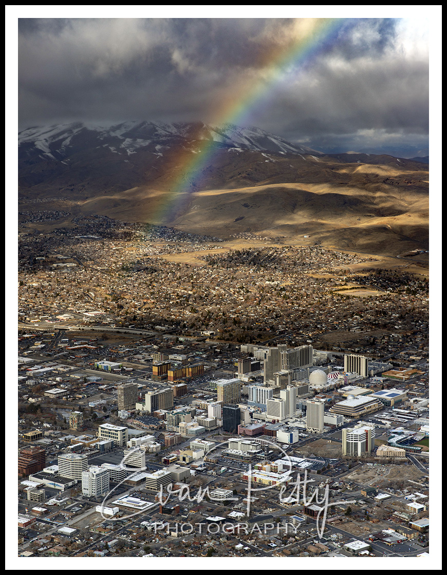 Rainbow Aerial over Reno, NV