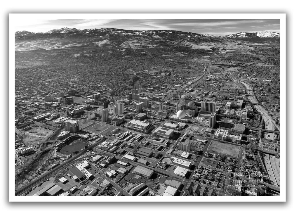 Aerial photography shot of downtown Reno 11/29/2020